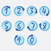 stock photo of semi-circle  - Blue circle hand written numbers set with brushed turning clockwise rotation arrow borders - JPG