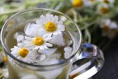 foto of chamomile  - Glass of cold chamomile tea with ice cubes and chamomile flowers on color wooden background - JPG