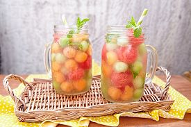 stock photo of honeydew melon  - Melon cocktail with watermelon - JPG