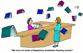 stock photo of floating  - Business cartoon of books floating in the air and librarian stating to patron - JPG
