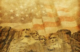 stock photo of mount rushmore national memorial  - American Memorial Background with Rushmore National Memorial and Vintage United States Flag - JPG