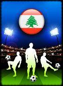 Lebanon Flag Button with Soccer Match in Stadium Original Illustration