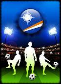 Botão de bandeira Ilhas Marshall com partida de futebol no Estádio ilustração Original