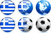 picture of usa flag  - Greece Flag Button with Global Soccer Event Original Illustration - JPG