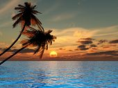 stock photo of fantasy landscape  - Sunset coconut palm trees on a beach  - JPG