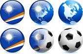Botão de bandeira Ilhas Marshall com ilustração Original do evento de futebol mundial