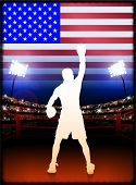 USA Boxing Event with Stadium Background and Flag Original Illustration