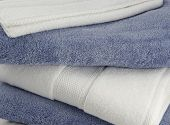 stock photo of blue white  - a close up of clean and pretty bath towels - JPG