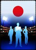 Постер, плакат: Бизнес команда Японии на стадион фон оригинальные иллюстрации