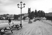 Cromer Pier Looking Towards Town Bw