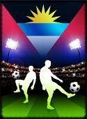 Bandera de antigua con el jugador de fútbol en estadio fondo ilustración Original