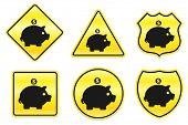 image of piggy_bank  - Piggy Bank Icon on Yellow Designs Original Illustration - JPG
