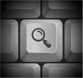 Magnifying Glass Icon on Computer Keyboard Original Illustration