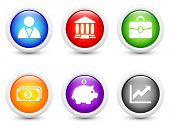 Economy Icon on Simple Round Button Collection Original Illustration