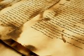 Ancient and vintage handwritten Bible pages