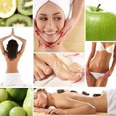 Health and spa collage illustrating spa treatments, dieting, healthy nutrition, yoga, alternative th