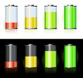 Battery with various loads and colors