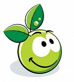 stock photo of smiley face  - Organic Smiley With green leaves - JPG