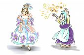 stock photo of cinderella  - characters from Cinderella fairy tale on white background - JPG