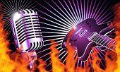 Retro micrófono y guitarra con llamas de fuego