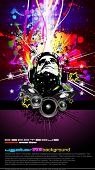 Abstract Colorful DJ Disco Flyer with Rainbow Colours
