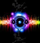 Alta tecnologia futurista música Disco fundo com luzes brilhantes do arco-íris