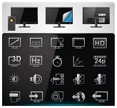 Vektor-TV-Features und Spezifikationen-Icon-Set. Teil 2 (bw, minimalistisch)