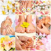 Female feet massage and flowers. Spa