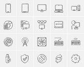Постер, плакат: Technology sketch icon set for web mobile and infographics Hand drawn technology icon set Technol