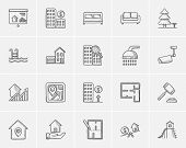 Real estate sketch icon set for web, mobile and infographics. Hand drawn real estate icon set. Real  poster