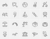Постер, плакат: Kids sketch icon set for web mobile and infographics Hand drawn kids icon set Kids vector icon se