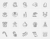 Christmas sketch icon set for web, mobile and infographics. Hand drawn christmas icon set. Christmas poster