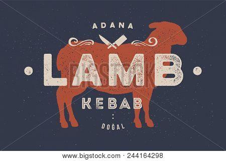 Lamb Kebab Vintage Logo Retro
