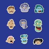 Funny Zombie Avatar Icon Set. Halloween Holiday Undead Sign, Horror Monster Heads Collection, Zombie poster