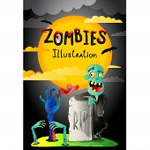 Halloween Party Banner With Zombie In Cemetery. Funny Undead Banner, Horror Monster Near Rip Gravest poster