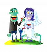 Zombies Wedding With Funny Married Zombie Couple In Cartoon Style. Undead Monster Personage, Cute Zo poster