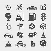Automobile Flat Vector Icons Set. Car Flat Vector Icons Set. Car Service Flat Vector Icons Set. Auto poster