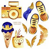 Travel Watercolor Clipart. Summer Collection With Camera, Ice, Leaves, Sneakers. Perfect For You Pos poster