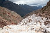 Salina Maras, The Inca Traditional Salt Field In Maras In Sacred Valley Near Cuzco, Peru. Scenic Vie poster