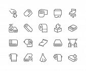 Simple Set Of Towels And Napkins Related Vector Line Icons. Contains Such Icons As Wet Towel, Sanita poster