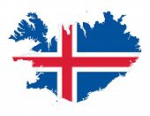Flag Of Iceland In The Country Silhouette. Blue Field With White Edged Red Nordic Cross. Outline Of  poster
