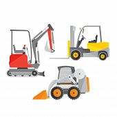 Schematic Illustration Of Two Mini Tractors Or Excavators And One Mini Forklift Truck. Stock Vector  poster