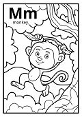 Coloring Book For Children, Colorless Alphabet. Letter M, Monkey poster