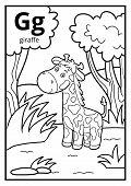 Coloring Book For Children, Colorless Alphabet. Letter G, Giraffe poster