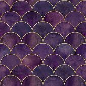 Mermaid Fish Scale Wave Japanese Luxury Seamless Pattern. Watercolor Hand Drawn Dark Purple Pink Bac poster