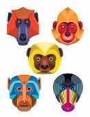 Flat Icon Mascot Style Illustration Of Heads Of Old World Monkeys Like The Baboon,  White-headed, Go poster