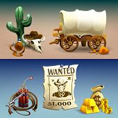 Wild West Horizontal Banners, Cowboy Accessories And Reward For Wanted Bandit On Gradient Background poster