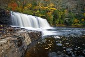 picture of hooker  - Hooker Falls Autumn Waterfalls DuPont State Park Forest Fall Foliage nature scene natural North Carolina Blue Ridge Mountains outdoors landscape - JPG