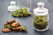 A Can Of Cannabis Buds Cookies With Cannabis And Buds Of Marijuana On The Table. Concept Of Cooking  poster