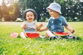 Funny Children Eating Watermelon On Nature At Summer poster